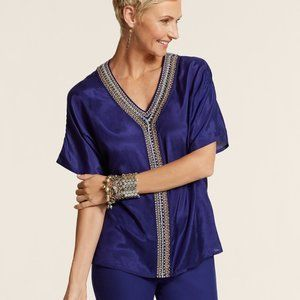 Chico Blue Intricate Accent Danette Beaded Blouse
